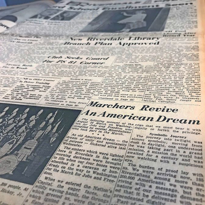 A recounting of the original March on Washington for Jobs and Freedom appeared on the front page of The Riverdale Press on Sept. 5, 1963..