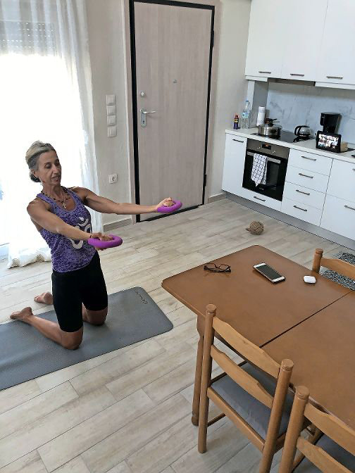 Riverdale Neighborhood House employees have continued to work with their students virtually. Pilates instructor Kiki Georgiadou has even taught her classes while staying in Greece.
