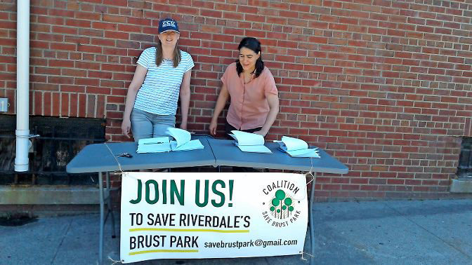 The Coalition to Save Brust Park formed last year to fight the planned construction of a new residential tower next to Brust Park near Manhattan College. Coalition members collected signatures in the neighborhood to show opposition to the new building.
