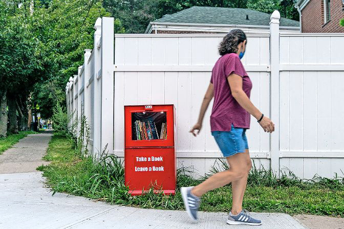 Home from college during the coronavirus pandemic, Daniella Needleman and Eliana Padwa came up with an idea: Installing a free library in Riverdale, so their neighbors could find new books even when the New York Public Library remained closed.