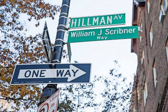 The corner of Van Cortlandt Park South and Hillman Avenue was ceremoniously named William J. Scribner Way after the founder of the Bronx Arts Ensemble. Professional jazz violist Judith Insell is the ensemble's new artistic director, and hopes to continue Scribner's tradition of elevating the artistic reputation of the Bronx by focusing on its diverse cultures.