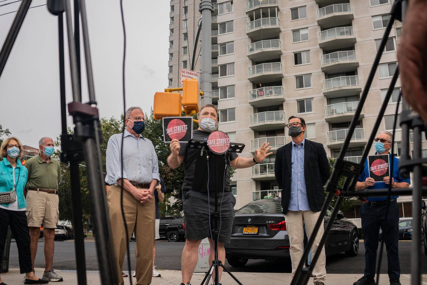 Assemblyman Jeff Dinowitz and Councilman Andrew Cohen were among those taking part in a safe streets' rally last week, where concerned neighbors expressed individual grievances bout nightly drag racers along Independence Avenue. While drag racing has been an issue in the community for several years, it's resurged over the past few months.