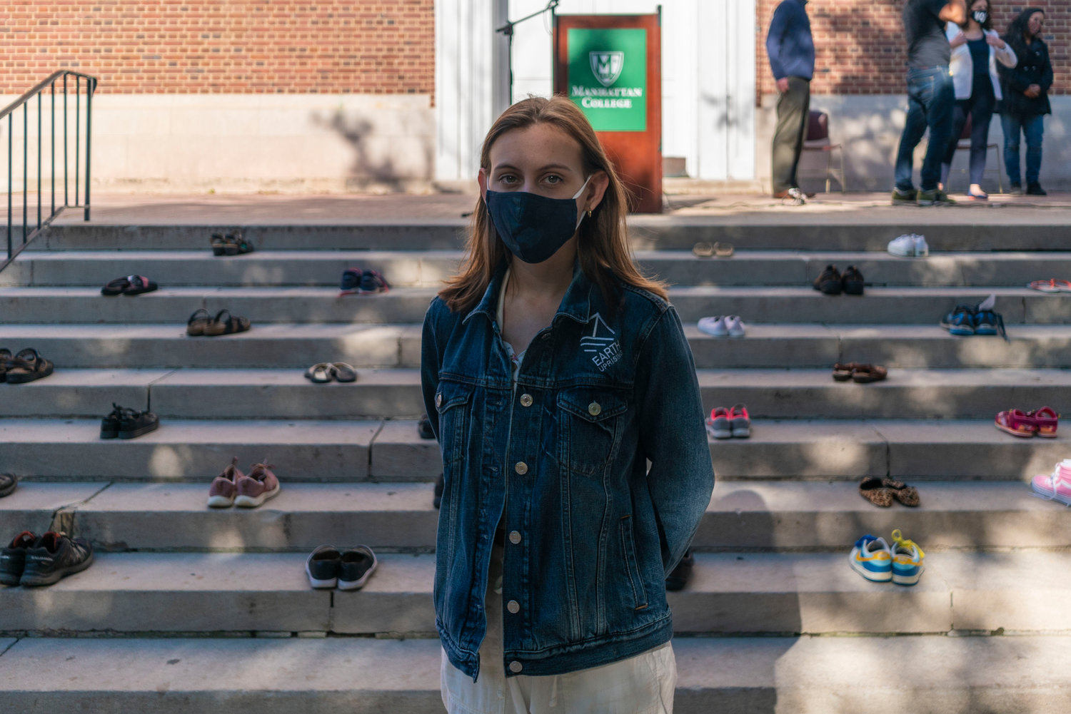 Alexandria Villaseñor, 15, delivers an impassioned speech at Manhattan College's 'shoe strike' Sept. 22. The strike was held during Climate Week NYC, aiming to raise awareness about climate change in the same spirit as last year's Global Climate Strike.