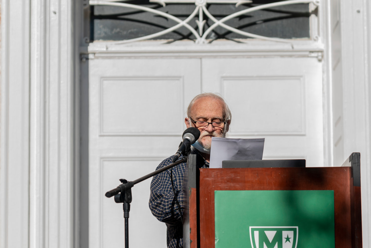 Jim White's speech at Manhattan College's 'shoe strike' Sept. 22 was a bit unorthodox. He favored a 'call-and-response' rhetoric for his remarks, as opposed to a typical one-sided speech.