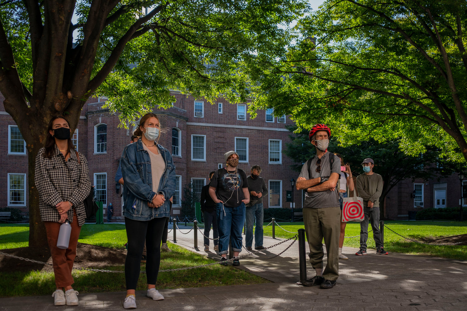 Although they also had the option to attend remotely, a small but steady crowd gathered at Manhattan College's Smith Auditorium for a 'shoe strike,' a protest calling for action on climate change.
