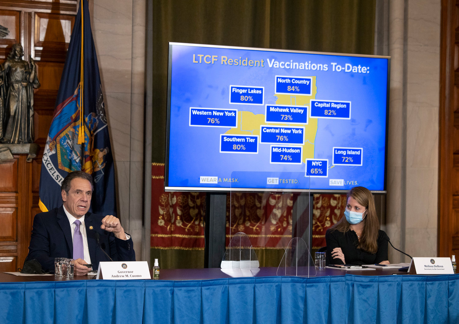 Gov. Andrew Cuomo and one of his top executives, Melissa DeRosa, right, are under fire from state lawmakers and even some prosecutors over how nursing home deaths related to the coronavirus pandemic were reported last year.