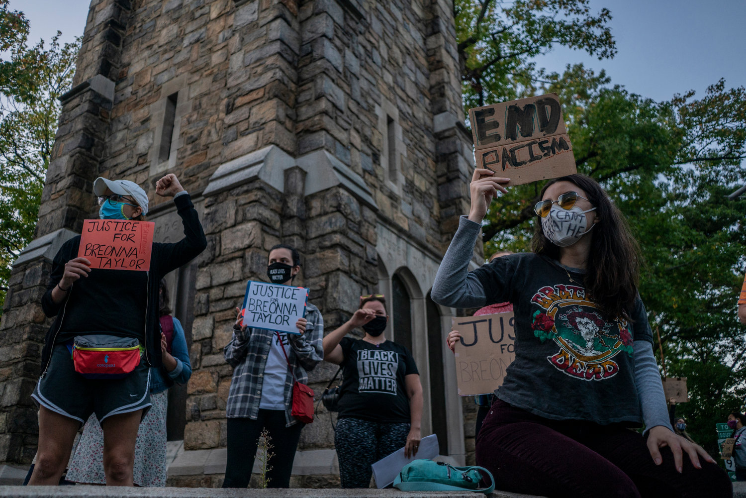 The coronavirus pandemic may have limited crowds at places like the Riverdale Monument, but that didn't stop people from using the central place to protest police violence against people of color in the wake of the George Floyd murder in Minneapolis.