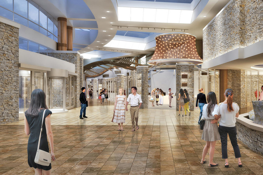 NEW SHOPS — Here is an artist's rendering of the planned entrance area of The Towers hotel at the Turning Stone Casino Resort which will be adding four new retail stores, according to an announcement today by the Oneida Indian Nation.  (Illustration submitted)