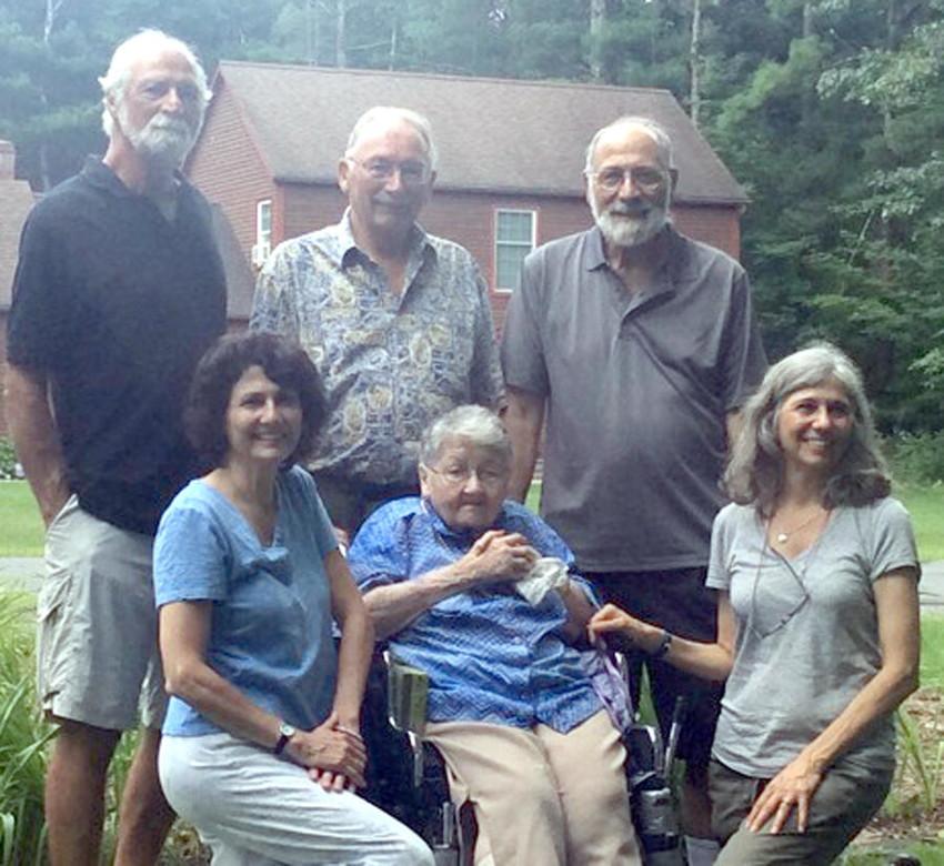 Rosemary (Colella) Coccia, center, with her children, from left to right: Stephen (Sylvan Beach), James (Glens Falls), Philip (Marcellus), Kathy Coccia Winberg (Pittsburgh), Elizabeth Coccia (San Antonio).