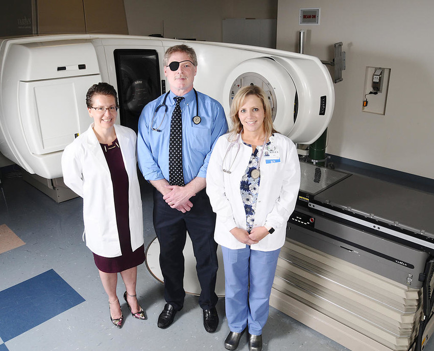 CANCER CARE IN ROME — Rome Memorial Hospital Radiation Medicine Radiation Oncologist Dr. Michael Fallon has joined Rome Memorial Hospital Radiation Medicine at Chestnut Commons, 107 E. Chestnut St. Dr. Fallon, center, Director Amy Weakley, left, and Kelly Pietryka and the team provide care to cancer patients in Rome and surrounding communities.  (Photo submitted)
