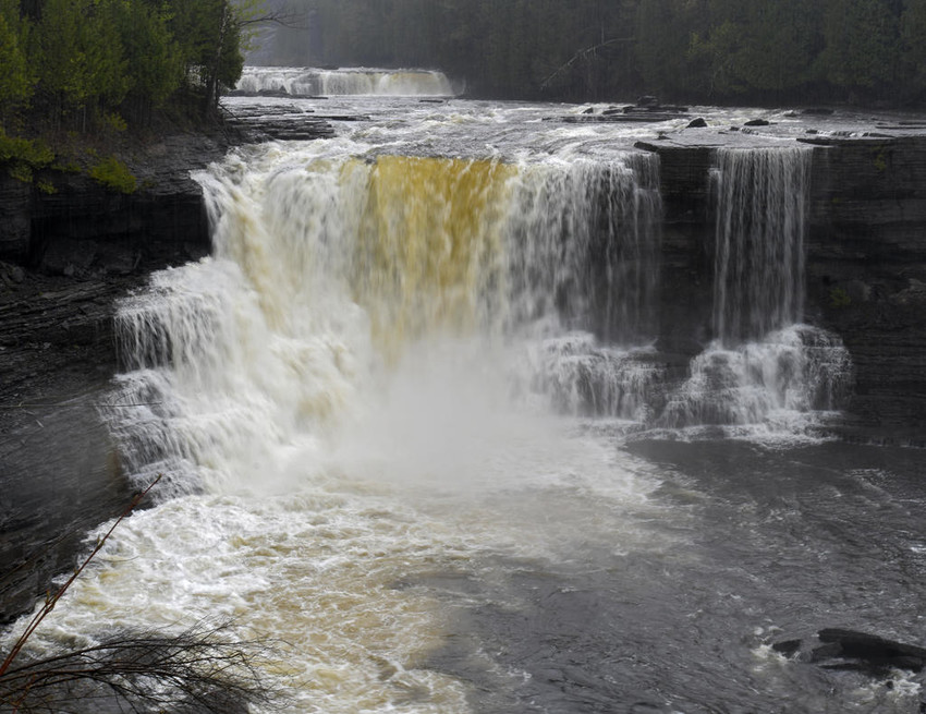 GORGEOUS —Water pours over the Upper Falls on the Trenton Falls Scenic Trail in May 2017. Walkers along the scenic and handicapped accessible trail were able to see Sherman Falls, the Upper and Lower Falls and the Mill Dam Falls, all carved out by the West Canada Creek.  (Sentinel file photo by John Clifford)
