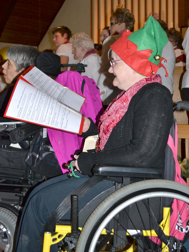 HOLIDAY CHEER — This file photo shows members of Arc Madison-Cortland performing a Christmas concert at St. Paul's Methodist Church. They will perform at the church, located at 551 Sayles St., Oneida on tomorrow evening at 7 pm.  (Photo submitted)
