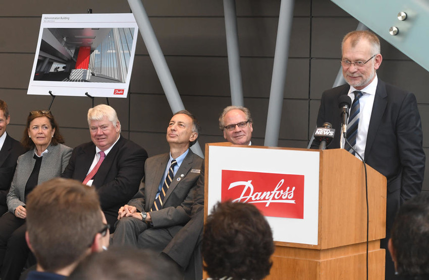 RAMPING UP — Danfoss Silicon Power President Claus Petersen speaks to company and government officials at SUNY Polytechnic Institute on Monday. Danfoss said it has hired the first 11 employees for its power module production facility that's being set up inside the Quad-C building at SUNY Poly.  (Sentinel photo by John Clifford)
