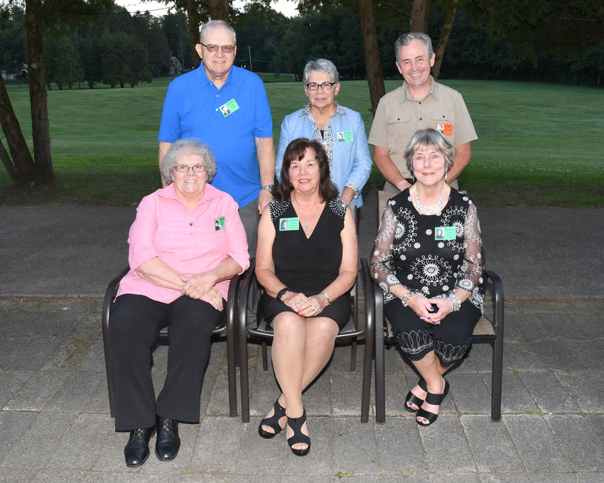 BACK TOGETHER AGAIN —Members of the St. Aloyisus Academy's Class of 1962 celebrated their 55-year reunion on Saturday at The Beeches, 7900 Turin Road.  Among those sharing old memories and making new ones were, from left, Anne Martin Wayne, Patricia Frankow Buckingham and Carol Bonczek Malorzo; back row: Donn King, Marguerite Lupia Maurer and Jim Bryden.  (Sentinel photo by John Clifford)