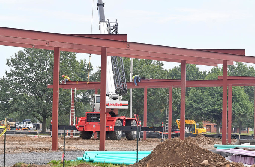 FILL'ER UP — The steel framing is erected for the gas pump canopies at the new Stewart's Shop at Floyd Avenue and Route 825 in Griffiss business park. Construction of the actual store will follow. The underground fuel storage tanks were installed previously. The convenience store is located at one of the most visible intersections at Griffiss.  (Sentinel photo by John Clifford)
