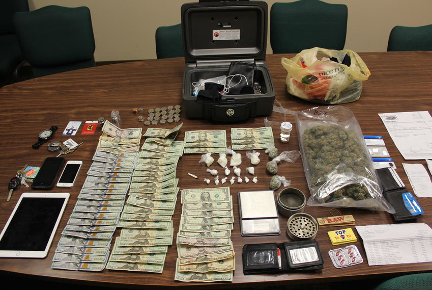 DRUG RAID — Crack cocaine, marijuana, $2,000 cash and many other items were seized during a drug raid at the Super 8 Motel in Oneida on Monday, according to law enforcement officials.(Photo submitted).
