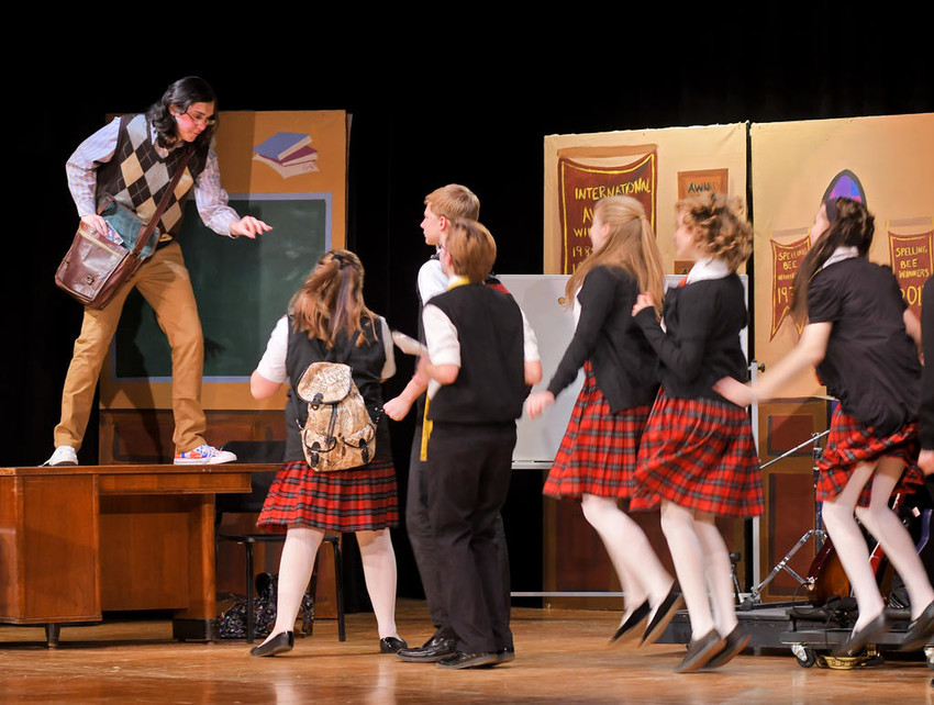 """READY TO ROCK —Members of the Westmoreland Central School Drama Club go through their paces Tuesday during a dress rehearsal for their production of """"School of Rock"""" at the Westmoreland High School auditorium. The school's version of the show which is currently on Broadway will be held Thursday through Saturday.  See story, page 3.  (Sentinel photo by John Clifford)"""