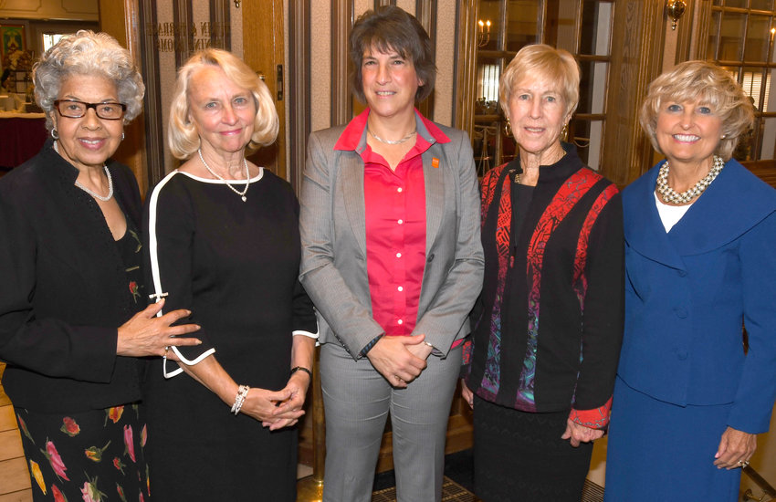 GETTING STARTED — Members of the Wednesday Morning Club began its new year with a luncheon at The Beeches, 7900 Turin St., and a speech by Rome Mayor Jacqueline M. Izzo. Among those in attendance were, from left: Jeanne McDowell, club member; Sheila Semo, club member; Izzo; Susan Divine, club president; and Linda Reed, club member.
