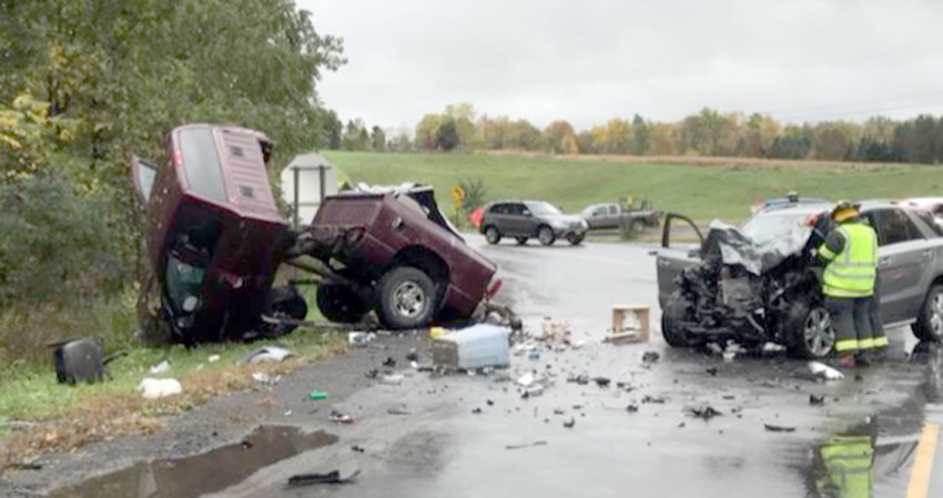 NEW HARTFORD CRASH — Both vehicles sustained extensive damage following a crash at Roberts Road and Mohawk Street in New Hartford Saturday morning. Three people were hospitalized, police stated.