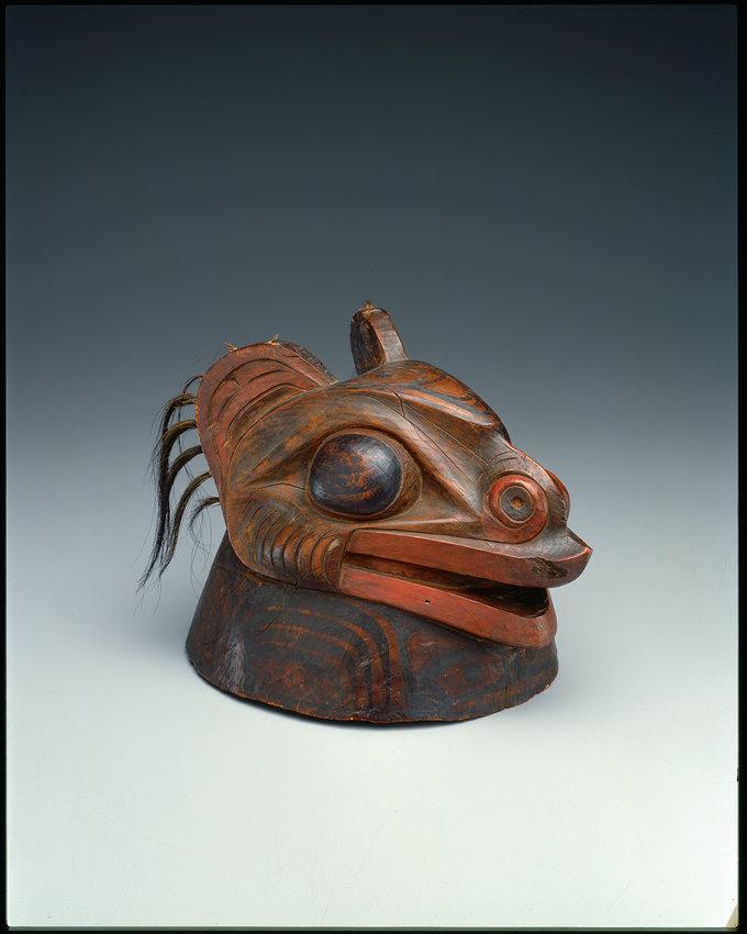 War Helmet — ca. 1780-1840, Tlingit, Southeastern Alaska wood (possibly spruce), human hair, pigment, H: 9 ¾ x W: 8 7/8 x W: 8 7/8 in.