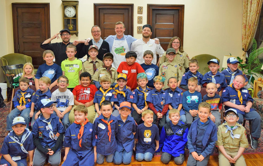 SCOUT EFFORT — Members of the Bon Appetit culinary team from Hamilton College recently came to Rome to visit Boy Scouts Pack 50 to teach them basic culinary skills and how to make healthy food choices.