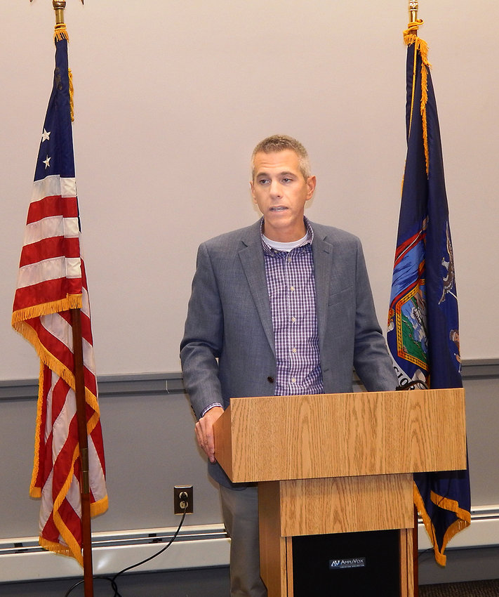 NO MORE EXTENSIONS — Assemblyman and congressman-elect Anthony Brindisi speaks Tuesday at a press conference in Utica where he called on the state Public Service Commission to grant no more extensions to Spectrum internet and cable television company to improve its service.