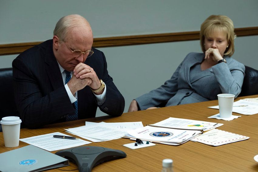 "This image released by Annapurna Pictures shows Christian Bale as Dick Cheney, left, and Amy Adams as Lynne Cheney in a scene from ""Vice."" (Matt Kennedy/Annapurna Pictures via AP)"