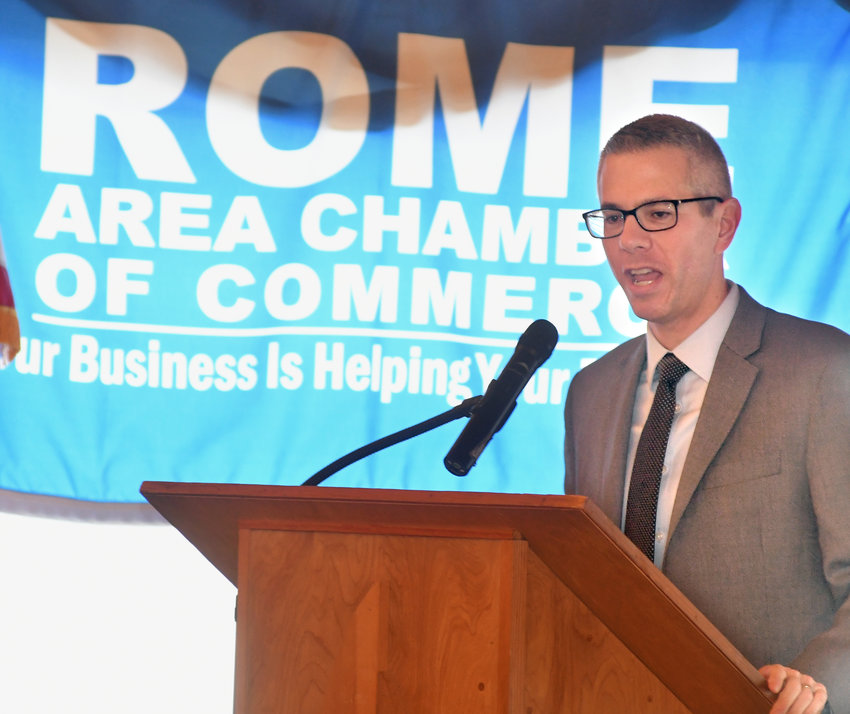 "BREAKFAST WITH BRINDISI — Rome Area Chamber of Commerce members and others met at Delta Lake Inn this morning to ask questions of U.S. Rep. Anthony Brindisi, D-22, Utica, over breakfast. The freshman congressman said the partial federal shutdown ""put everything else on the back burner down in Washington."""