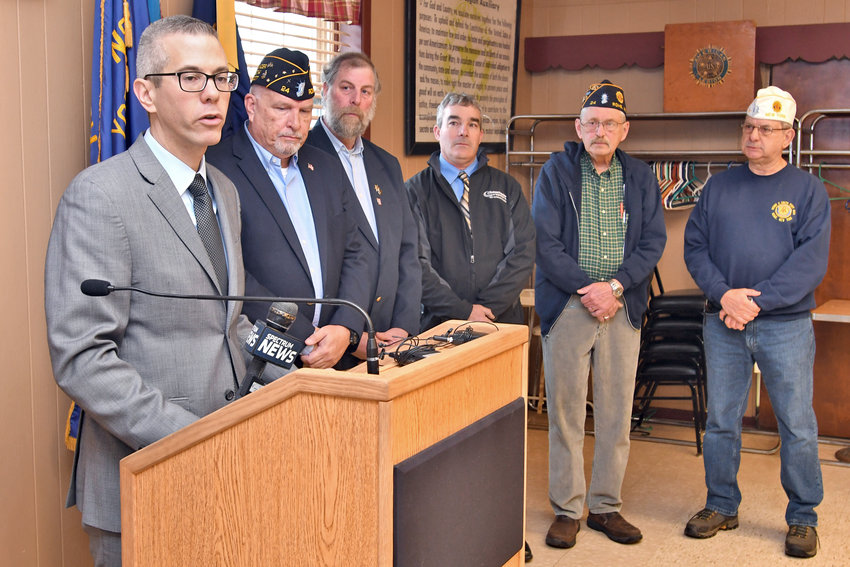 LOOKING FOR HELP —Rep. Anthony J. Brindisi, D-22, Utica, outlines plans to establish two local advisory panels during a recent stop at Henry P. Smith Post.  From left: Brindisi; Michael Grogan, of Smith Post; Ben Simons, an area  farmer; Mike Candella, of the Farm Bureau; and John Conners and Frank Carletta, both of Smith Post.