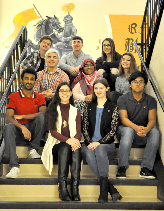 RFA'S TOP TEN SCHOLARS — Rome Free Academy's academic Top Ten students for the Class of 2019 include, in front from left: John George, salutatorian Izabella Rivera, valedictorian Kelly Boyer, and Anthony Acosta. In the middle row from left: Tejas Desai, Ruqiyah Shaik, and Justine Cammer. In the back row from left: Patrick Balog, Preston Mecca, and Calla Reilley.