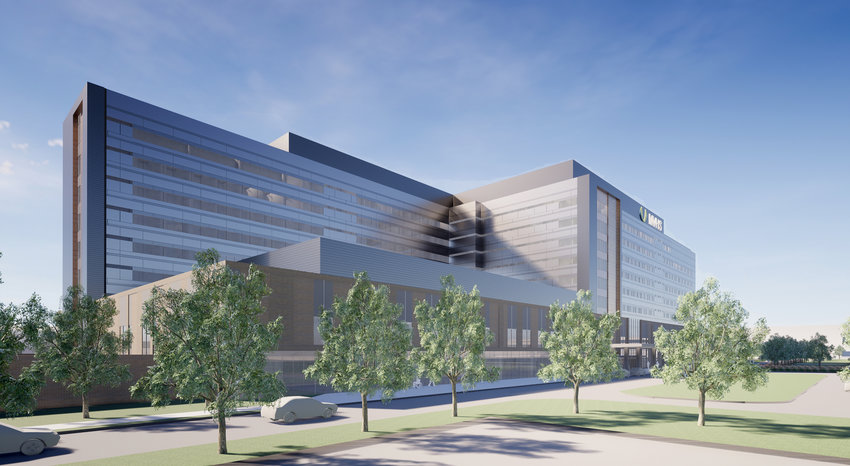 COUNTY MOVES AHEAD — Above, an artist's rendering of the exterior of the proposed Mohawk Valley Health System's planned downtown Utica hospital. County lawmakers on Feb. 13 approved legislation to acquire property for construction of a parking garage to support the facility.