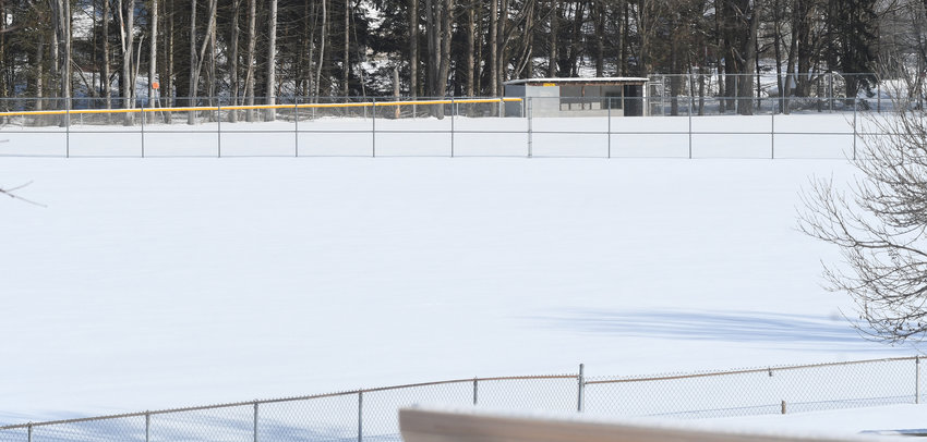 FIELD RESTRUCTURING PROPOSED — Fencing for two baseball fields at Lee Town Park, including fencing in the center of the photo that is shared by fields in the foreground and background, would be restructured according to a proposal being considered by the Town Board.
