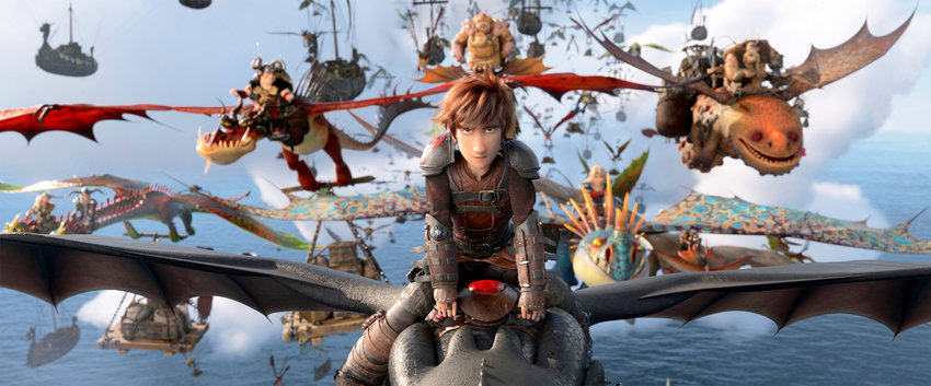 """IN ACTION —This image released by Universal Pictures shows the character Hiccup, voiced by Jay Baruchel, in a scene from DreamWorks Animation's """"How to Train Your Dragon: The Hidden World."""""""