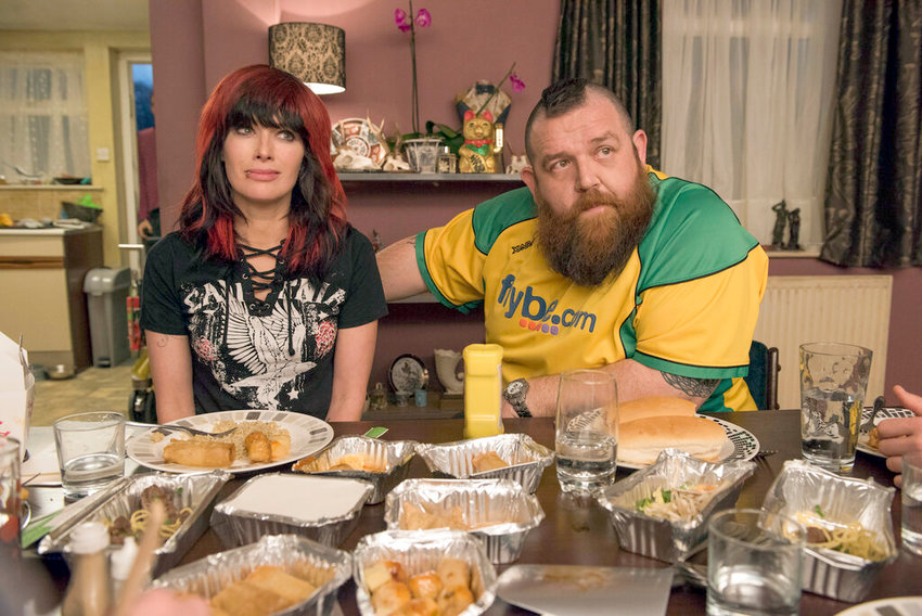 "ENTERTAINING — This image released by Metro Goldwyn Mayer Pictures shows Lena Headey, left, and Nick Frost in a scene from ""Fighting with My Family."""