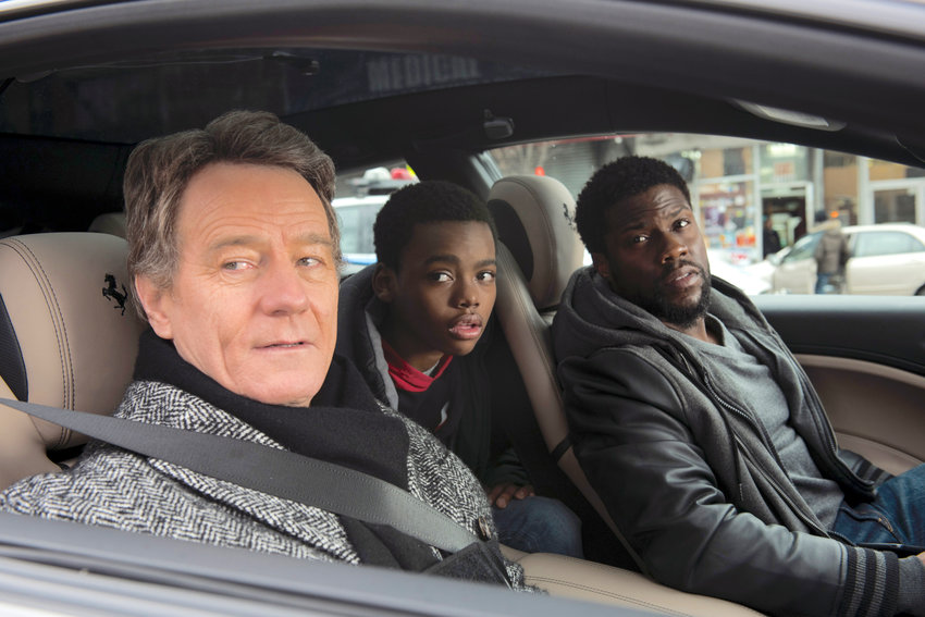 "unlikely bond— Bryan Cranston, from left, Jahi Di'Allo Winston, and Kevin Hart in a scene from ""The Upside."""