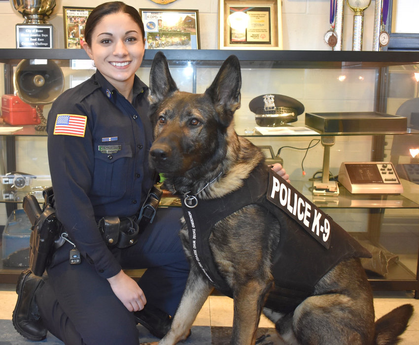 OFFICERS OF THE MONTH — Police Officer Alexandra Carletta and her K-9 partner Arko are the Rome Police Department's Officers of the Month for February.