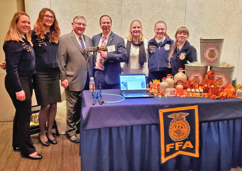 VVS FFA IN ALBANY — Among those at the Vernon-Verona-Sherrill FFA booth at the Farm Bureau Taste of New York event in Albany during 2019 Lobby Days, from left: students Danann Lohr and Molly Adams, Assemblyman Ken Blankenbush, Sen. Joseph Griffo, VVS FFA advisor Sara Ouellette, and students Rachel Champney and Rebecca Collins.
