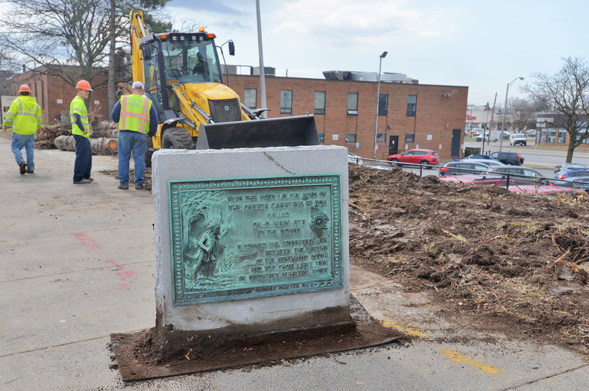 UPROOTED — The De-O-Wain-Sta monument on the 300 block of West Dominick Street was removed this morning to make way for the planned Art Plaza. The new plaza will also commemorate Rome's role as the carrying place between the Mohawk River and Wood Creek. It's unclear where the monument is headed, though city documents say it will be relocated.