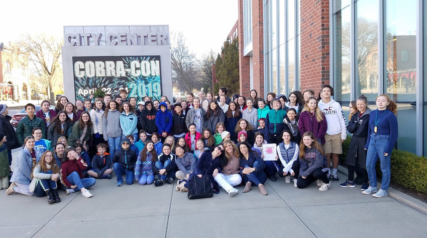 YOUNG ARTISTS — These are all the Clinton Central School elementary, middle and high school students who went to Saratoga Springs on April 4 to participate in the 37th annual Olympics of the Visual Arts hosted by the state Arts Association, including their art teachers.  Students learned to fix world problems through the arts by competing in different categories that included fashion design, graphic design, sculpture and architecture.