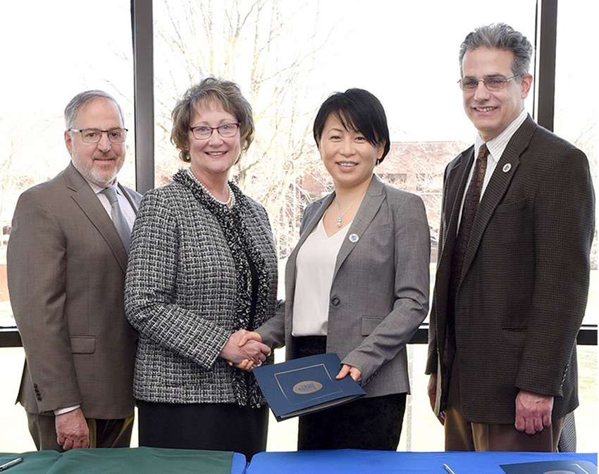 ARTICULATION AGREEMENT — Pictured from left are Herkimer County Community College Provost Michael Oriolo, Herkimer County Community College President Dr. Cathleen McColgin, SUNY Poly interim President Dr. Grace Wang, SUNY Poly interim Provost Dr. Steven Schneider.