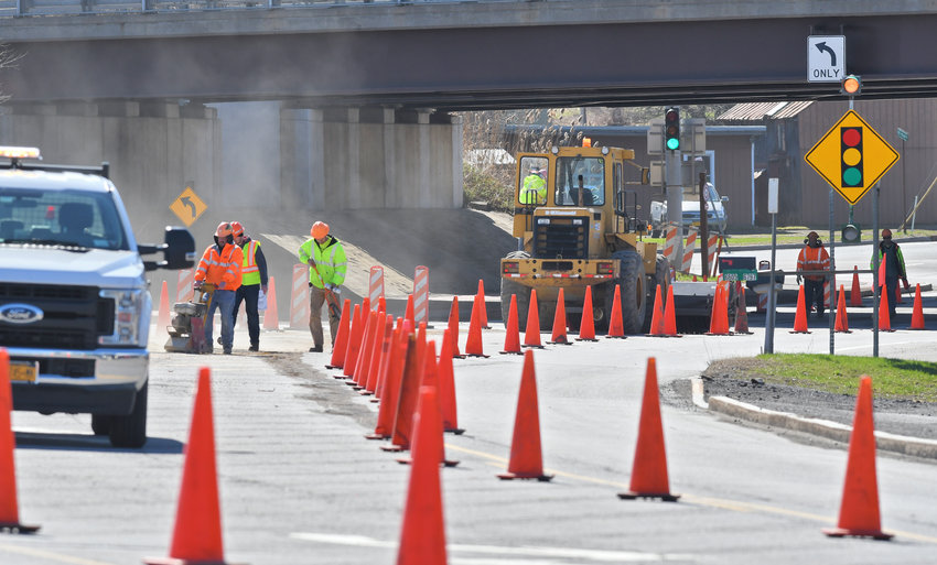 """LAYING GROUNDWORK — State Department of Transportation workers prepared for a """"bridge deck rehab"""" at the bridge over Wheeler Creek on Martin Street last week. Drivers won't face detours as a result of the work, though only one lane will be open at a time, the other closed off with a concrete barrier, as the project is completed, according to DOT officials."""