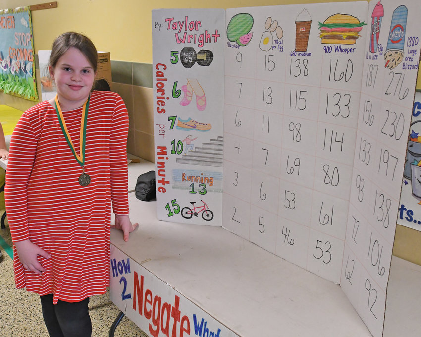 A BUNCH OF WAYS TO BURN IT OFF — Fifth-grader Taylor Wright shows how much energy it takes to burn off calories using a variety of different activities as part of her How 2 Negate What You Ate display at Gansevoort Elementary School Thursday afternoon.