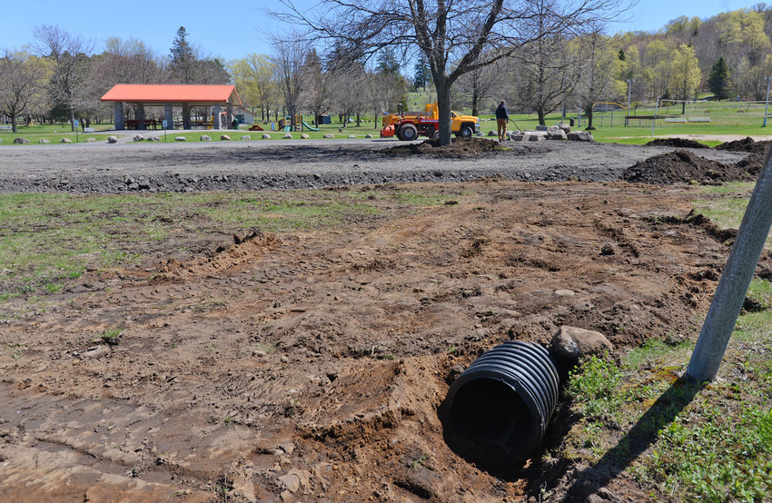 INFRASTRUCTURE IMPROVEMENT — New drainage has been installed around the extended parking lot at Erwin Park in Boonville. Restrooms at the park have been renovated as part of a series of improvements planned for the park.