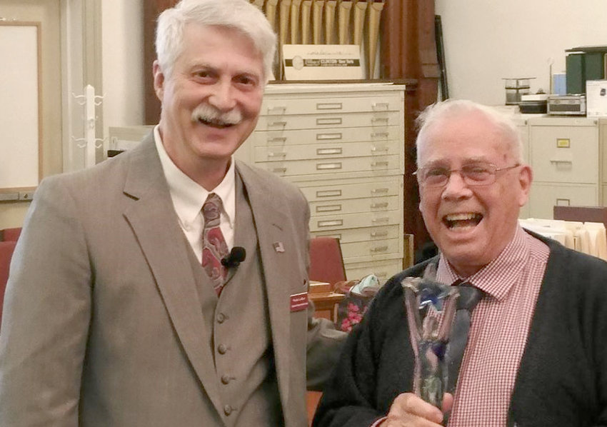 """HISTORICAL AWARD — At the annual meeting of the Clinton Historical Society on May 1, President Wade Lallier, left, presented a """"Lifetime Achievement Award"""" to Francis Lallier, former board member and chair of the Building Committee."""
