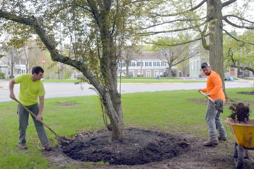 CLEANING UP THE GREEN — Andrew Maxam and Ross Rashford, workers with the Village of Clinton Department of Public Works, spent the early morning hours on Tuesday, May 7 at the Village Green cleaning up, rolling, seeding and prepping the tree bases for fresh mulch.