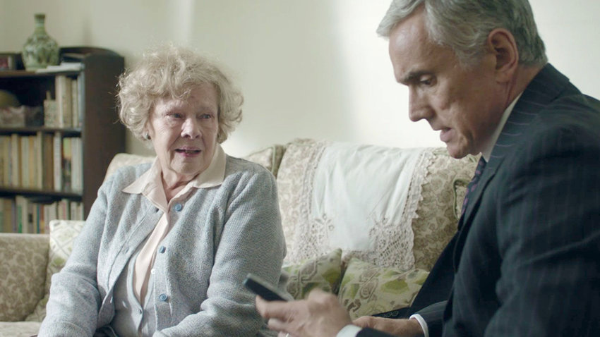 "SPY DRAMA — Judi Dench with co-star Ben Miles in a scene from ""Red Joan"""