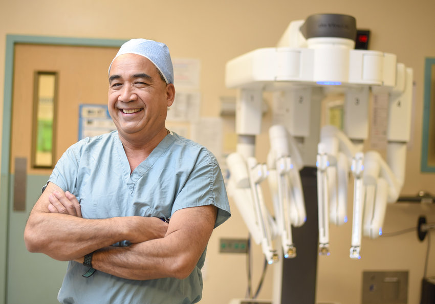 da Vinci Xi — Jonathan Blancaflor, MD, director of Robotic Surgery at MVHS, in the operating room at the St. Elizabeth Campus of the Mohawk Valley Health System.