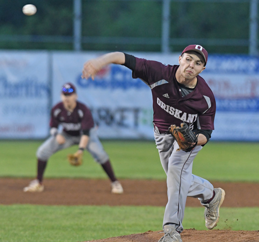 COMPLETE-GAME EFFORT —Steve Armstrong of Oriskany delivers a pitch during a 2-1 loss to Cooperstown on Sunday, June 2 in the Section III Class C final. Armstrong went all eight innings.