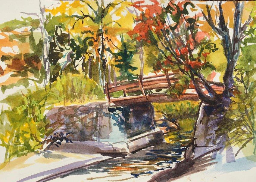"""Bridge on Big Woodhull Creek"" — Art piece by Diane Davis"