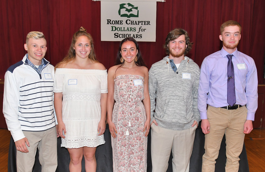 HELP FOR COLLEGE —The Rome Dollars for Scholars awarded 62 original scholarship and seven renewable scholarships to graduating seniors at Rome Free Academy during the organization's 35th annual awards banquet.  Among students receiving awards were, from left, James Faso, Kaitlyn Mastracco; Katherine Balog, Matthew Yager and Matthew Meyers.